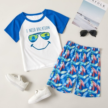 Fashionable Kid Boy Smile Face Casual Set