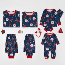 Family Matching Cute Cartoon Deer and Santa Print Christmas Pajamas Sets (Flame Resistant)