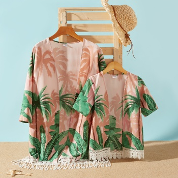 Plant Print Lace Tassel Decor Beach Cover Up for Mommy and Me