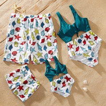 Hollow Out Cartoon Marine Life Pattern Print Stitching Solid Family Swimsuits
