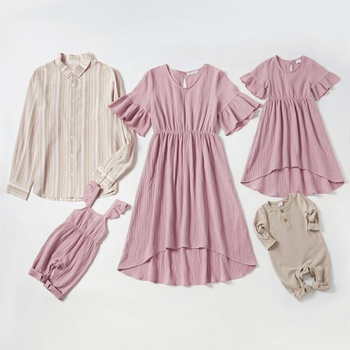 Mosaic 100% Cotton Family Matching Sets in Autumn(Flounced Dresses - Pinstripe Shirts - Rompers)