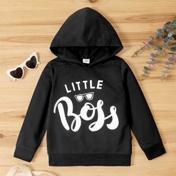 Kid Boy Letter Print Hooded Sweatshirt