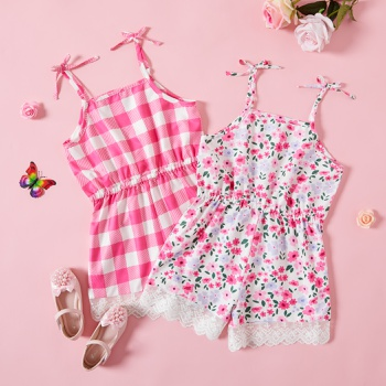 Trendy Kid Girl Lace Tank Rompers