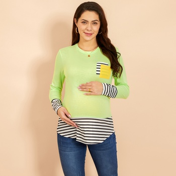 Maternity Round collar Color Block Plain Pale Green T-shirt
