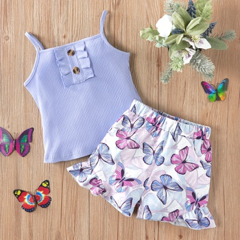2-piece Baby / Toddler Solid Camisole and Butterfly Shorts Set