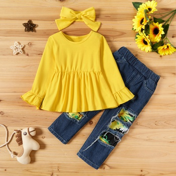 2-piece Baby / Toddler Ruffled Solid Top and Sunflower Denim Pants Set