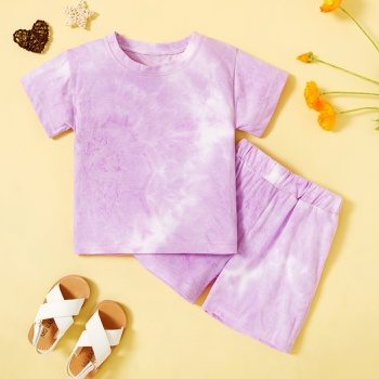 2-piece Toddler Girl Casual Tie Dyed Top and Shorts Set