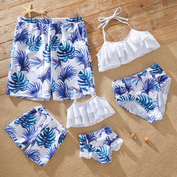 Family Look Solid Ruffle Top and Plant Print Shorts Matching Swimsuits