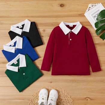 Toddler Boy Polo Collar Long-sleeve Tee