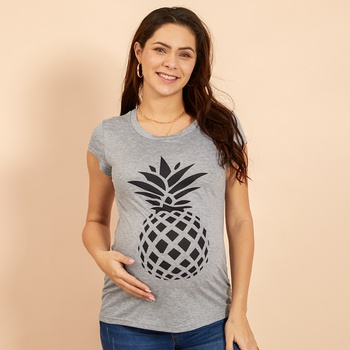 Maternity Round collar Pineapple Positioning print Grey T-shirt