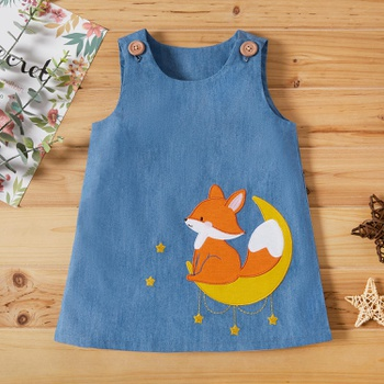 Baby Girl Fox & Denim Dress