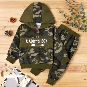 2-piece Baby / Toddler Boy Camouflage Letter Print Hoodie and Sporty Harem Pants Set