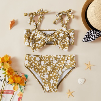 Toddler Girl Bowknot  Floral Print Swimsuit