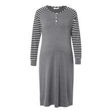 Maternity V-neck Stripes Plain Grey Knee length A Long-sleeve Nursing Dress