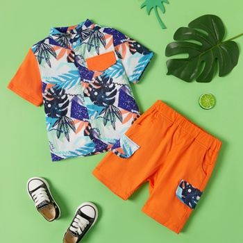 2-piece Baby / Toddler Trendy Print Ocean Shirt and Shorts Set