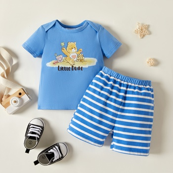 Care Bears 2-piece Baby Boy Summer Cotton Top and Stripe Shorts Set