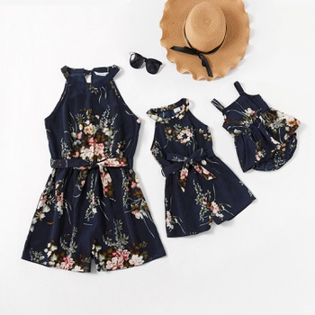 Floral Print Sleeveless Matching Shorts Rompers