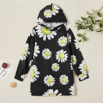 Fashionable Daisy Print Allover Hooded Sweatshirt Dress