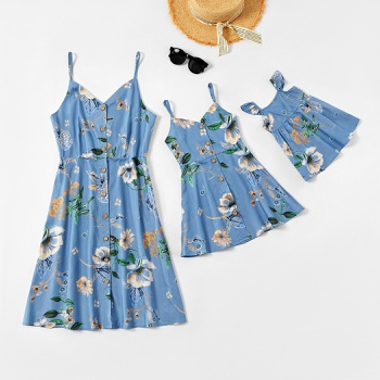 Flower Print Front-button Tank Dresses for Mommy and Me