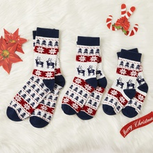 Winter New 100% Cotton Christmas Elk Print Family Stockings