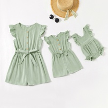 Mommy and Me 100% Cotton Solid Front-button Rompers