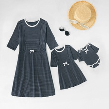 Round Neck Striped Matching Dresses