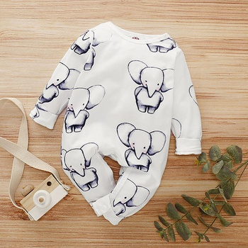 Baby Elephant Print Long-sleeve Jumpsuit