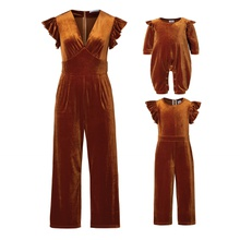 Flutter-sleeve Solid Jumpsuits for Mommy-girl-baby