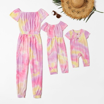 Mommy and Me Tie Dye Off-shoulder Jumpsuits