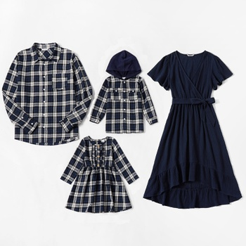 Mosaic Family Matching Blue Plaid Cotton Sets(V-neck Dresses - Plaid Button Front Shirts)