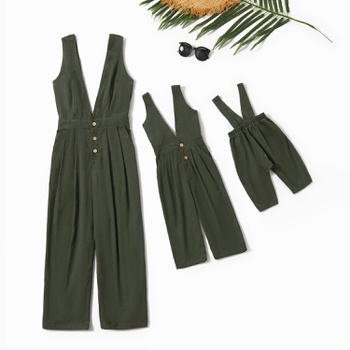 Cotton Solid Deep V-neck Tank Jumpsuits for Mommy and Me