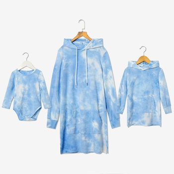 Mosaic Hooded Cotton Tie-dye Dresses for Mommy and Me