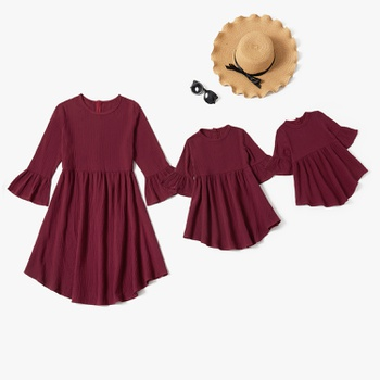Mommy and Me 100% Cotton Solid Wine Red Bell Sleeve Dresses