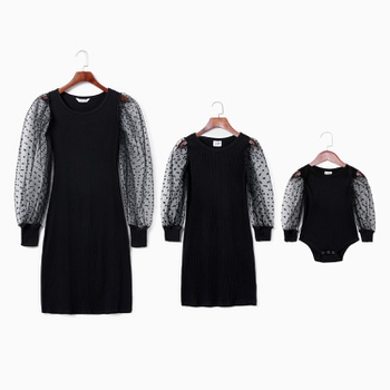Polka Dot Mesh Sleeve Fitted Matching Black Mini Dresses