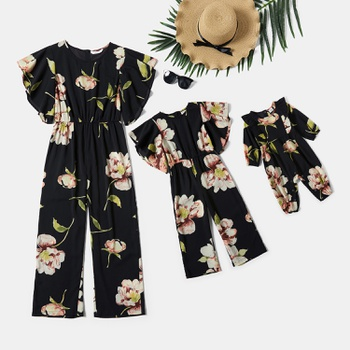 Floral Print Ruffle Sleeve Matching Black Jumpsuits