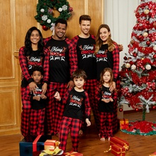 Christmas Family Matching Reindeer Print Plaid Pajamas Sets (Flame resistant)