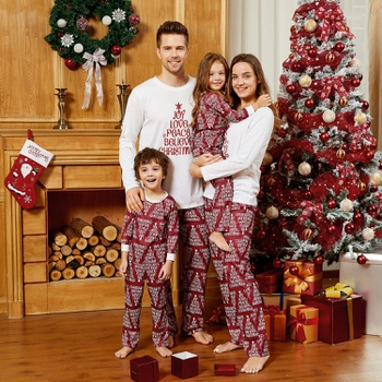 Christmas Letter Print Top and Striped Pants Pajamas Sets (Flame Resistant)