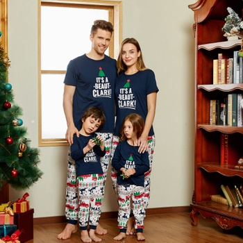 Christmas Letter Short-sleeve Top and Reindeer Pants Family Matching Pajamas Sets (Flame Resistant)