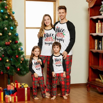 Christmas Letter Contrast top and Plaid Pants Family Matching Pajamas Sets (Flame Resistant)