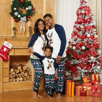 Christmas Reindeer Print Family Matching Pajamas Sets (Flame Resistant)