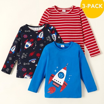 3-pack Toddler Boy Rocket and Striped Tee Set