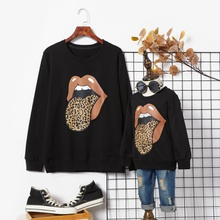 Leopard Print Tongue Pattern Black Cotton Sweatshirts for Mom and Me