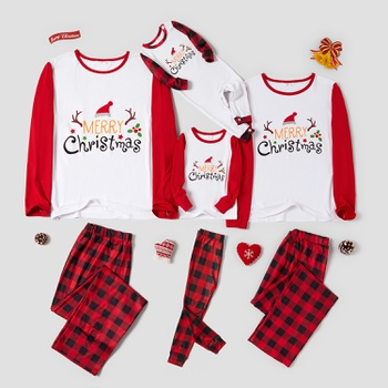 Family Matching Merry Christmas Letter Print Plaid Pajamas Sets