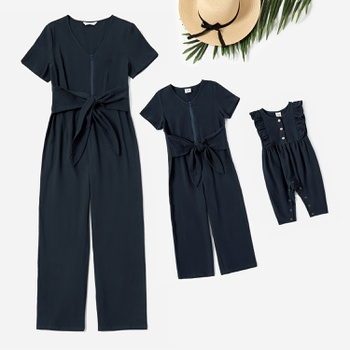 100% Cotton Short-sleeve Jumpsuits for Mommy-girl-baby