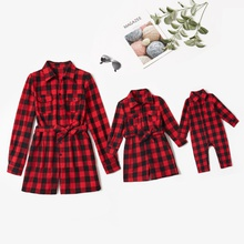 Mommy and Me Plaid Long-sleeve Shirt-collar Rompers