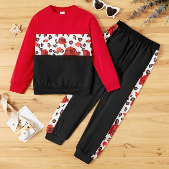 Kid Girl Leopard Sweatshirt & Pants Set