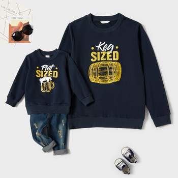 Keg Size Letter Print Cotton Sweatshirts for Daddy and Me