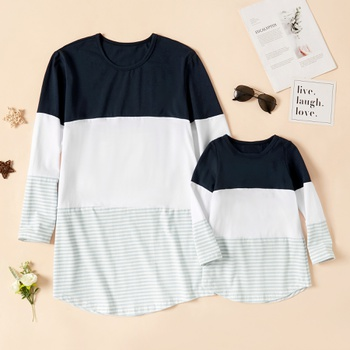 Stripe Splice Long Sleeve Cotton T-shirts for Mom and Me