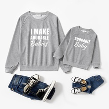 Letter Print Cotton Sweatshirts for Mom and Me