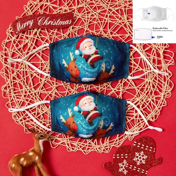 3-Layer Santa and Elk Print Protective Anti Dust Breathable Family Mask (Include Two Replaceable Filters)